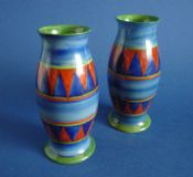 Pair of Early Clarice Cliff Original Bizarre 267 Vases c1928